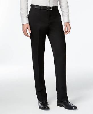 $250 CALVIN KLEIN Mens Slim Fit Wool Trousers Black Solid FLAT FRONT PANTS 33W