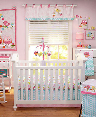 NoJo bedding Love Birds 4 Piece Cotton/Polyester Crib Set Pink MSRP $340