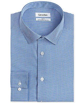 NWT $99 CALVIN KLEIN Men SLIM-FIT WHITE BLUE CHECK BUTTON DRESS SHIRT 16.5 34/35