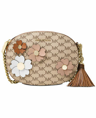 Applique Messenger Bag ( NWT MICHAEL KORS Flora Applique Ginny Messenger Bag Natural Beige Luggage $238)