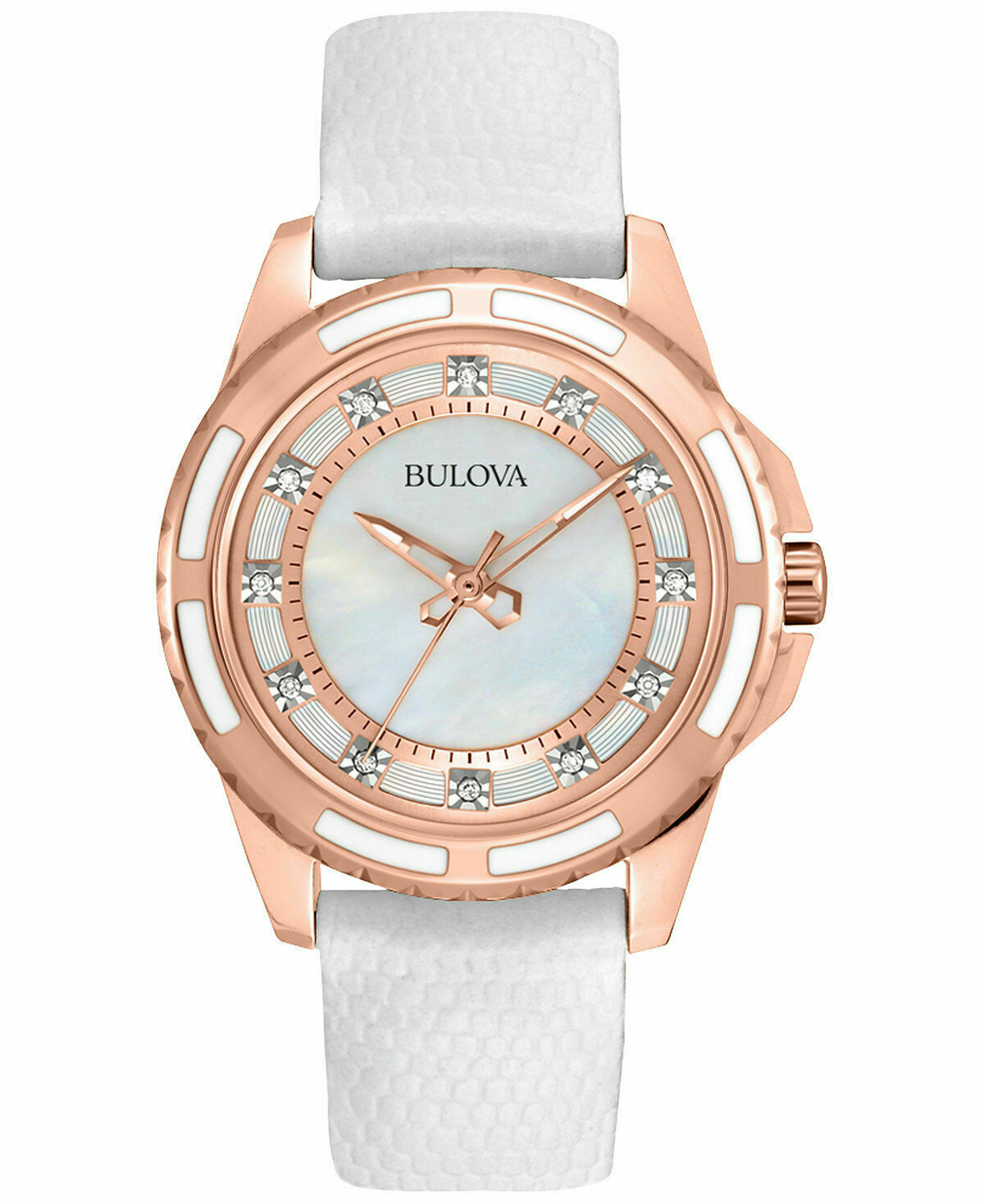 Bulova 98P119 Dress Mother Of Pearl Dial Leather Strap Ladie