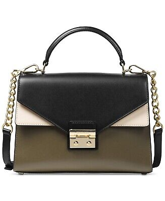 Michael Kors Sloan Medium Top-Handle Satchel Purse / Bag $268, Olive Black Ecru
