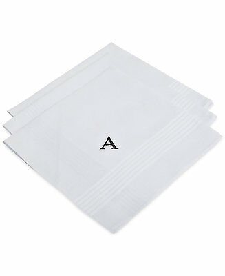 $95 BLOOMINGDALES Mens DRESS HANDKERCHIEF Monogram A PRINT WHITE  POCKET SQUARE
