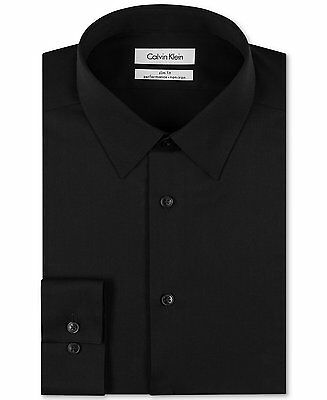 $175 CALVIN KLEIN Men SLIM-FIT BLACK LONG-SLEEVE NON-IRON DRESS SHIRT 16 34/35 L