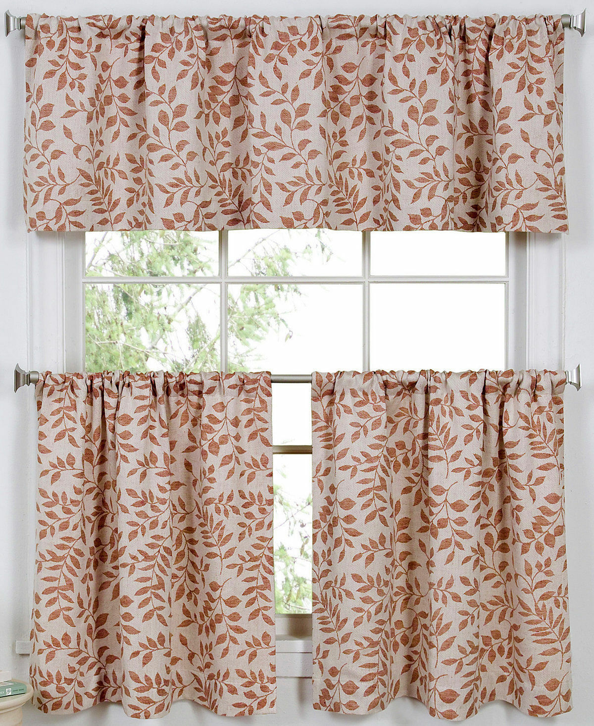 JCPENNEY ELRENE KITCHEN Valance and Tiers 3PC Set SERENE SPI
