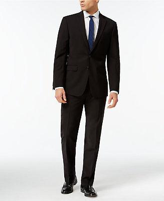 $855 CALVIN KLEIN Men 2 Piece Extreme Slim Fit WOOL SUIT Black JACKET PANTS 42 R
