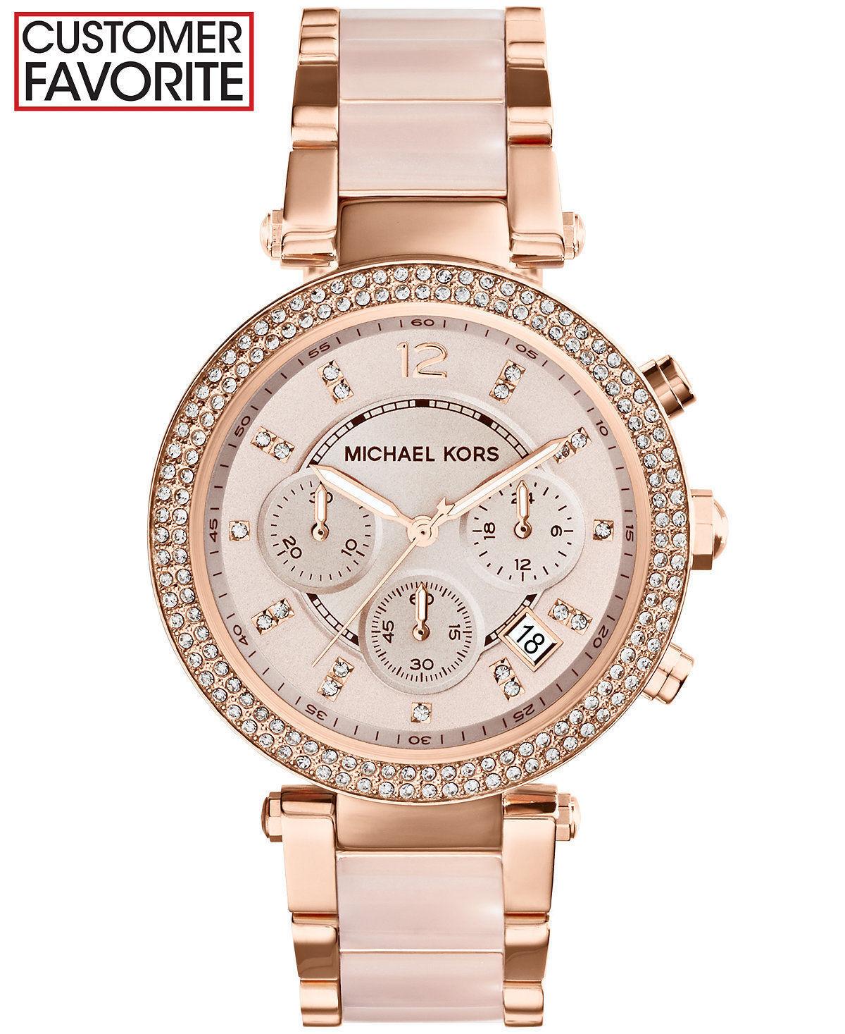 Купить Michael Kors Michael Kors Parker - New Michael Kors Parker Rose Gold Blush MK5896 Watch for Women Blush Crystal Set