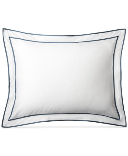 Ralph Lauren Home Spencer Sateen Border KING Pillow Sham Fisher Blue $120 NWP