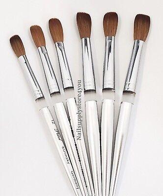 Acrylic Nail Brush Manicure Powder - Petal Kolinsky Silver Handle (Handle Nail Brush)