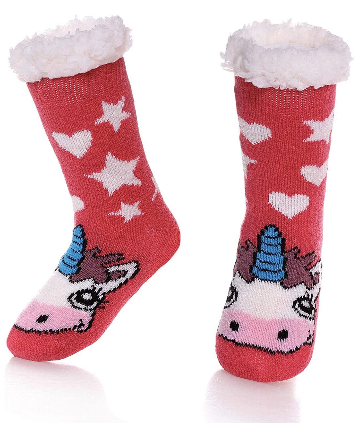 boys girls cute unicorn slipper socks fuzzy
