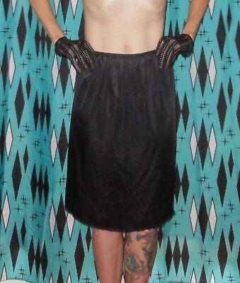 Vintage Vanity Fair Black Mid Length Half Slip M pinup clothing girl lace 1950's