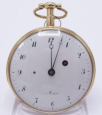 Biedermeier Meuron 18 Karat Gold Emaille Taschenuhr Repetition um 1800 *164*