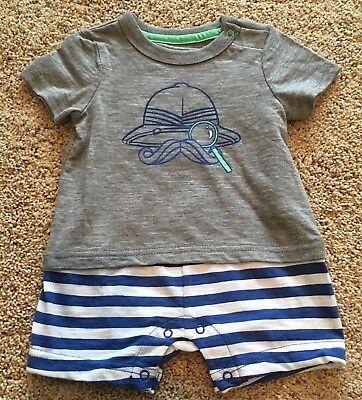 Boys Gray Short Sleeve Blue Stripe Cherokee Romper 0-3 Months Boys Short Sleeve Romper