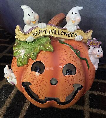 Lighted Halloween ceramic Jack O' Lantern pumpkin decoration With Ghosts