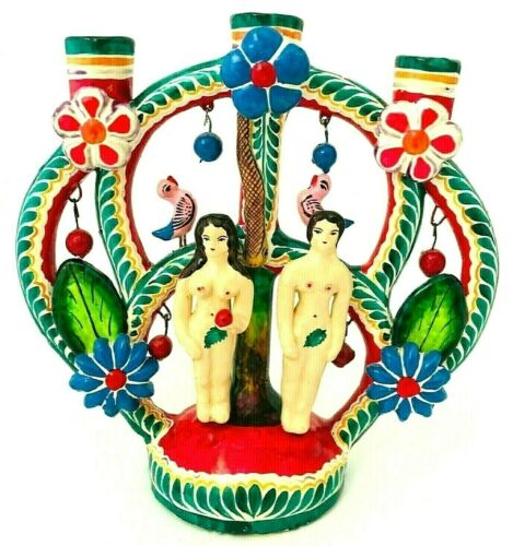 Vintage Mexican Folk Art Pottery TREE OF LIFE Candelabra Adam & Eve Handmade