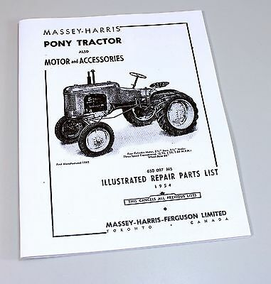 Massey Harris Pony Tractor Parts Catalog Repair List Manual Motor Accessories