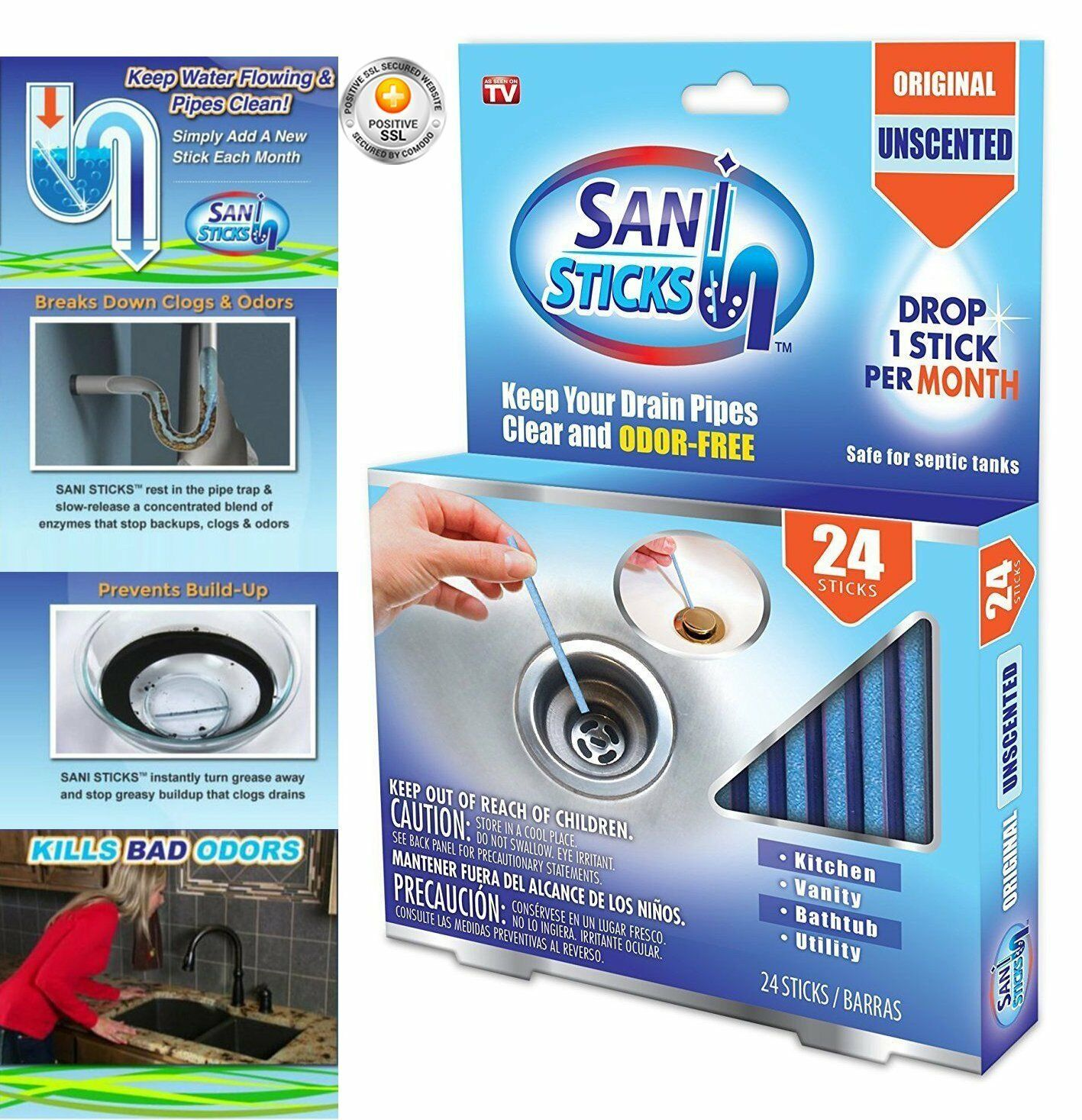 Sani Sticks As Seen on TV Drain Cleaner and Deodorizer, Unscented ...