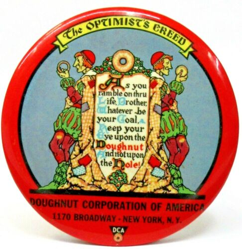early DCA DOUGHNUT CORPORATION OF AMERICA celluloid paperweight pocket mirror ^