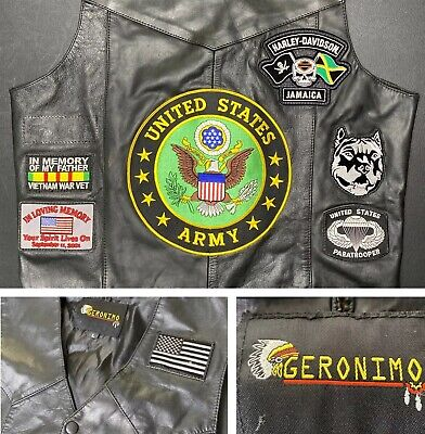 Geronimo Vest Motorcycle United States Army Leather Jacket Flag Sz L patches HD  Flag Motorcycle Jacket