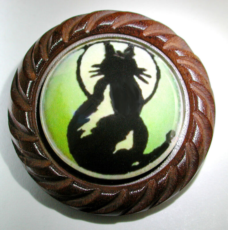 """Large Glass Dome Button Set in Carved Wood 1930s Image Cat & Full Moon 1 & 5/8"""""""