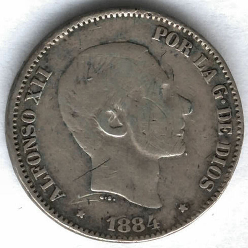 Alfonso Xii 1884 Philippines 50 Ctvos Manila @@ Pretty @@