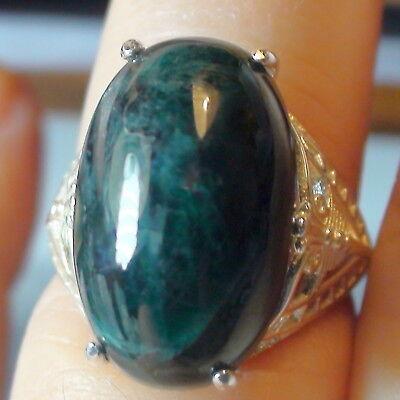 World Very Rare  19 50Ct Natural Grandidierite Ring 925 Sterling Silver S E 8 25