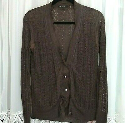 ELIE TAHARI Silk Linen BROWN S L/S Fine Lace Knit Cardigan Sweater Lace Silk Sweater