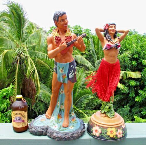 "Large 18-20"" Hawaiian Ukulele Singer Guy & Hula Girl Figure KC CO 2004 Hawaii"