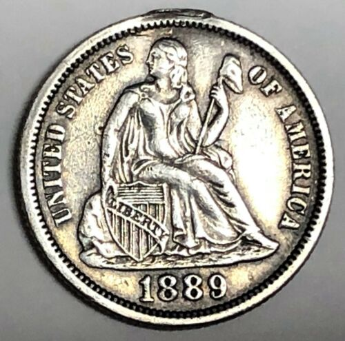 # C8699     LOVE TOKEN,    1889  SEATED DIME