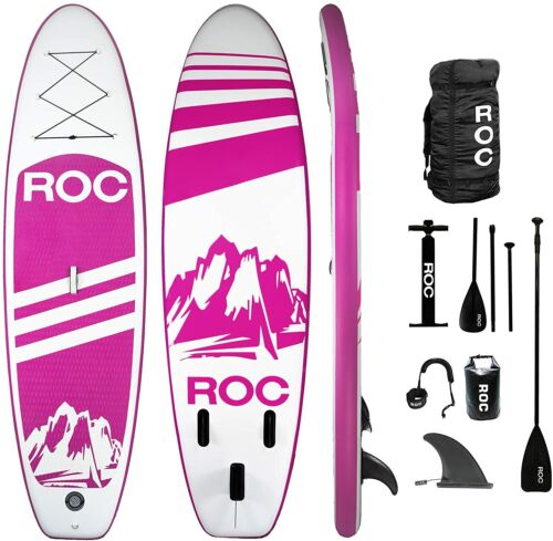 Roc Inflatable Stand Up Paddle Board with Free Premium SUP Accessories - Pink