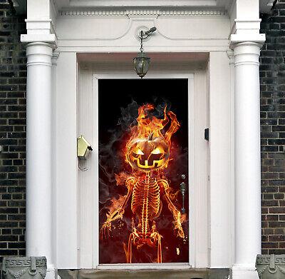3D Fire Halloween Front Door Cover Outside Decor Pumpkin Mural Banner B10 (Halloween Front Door Covers)