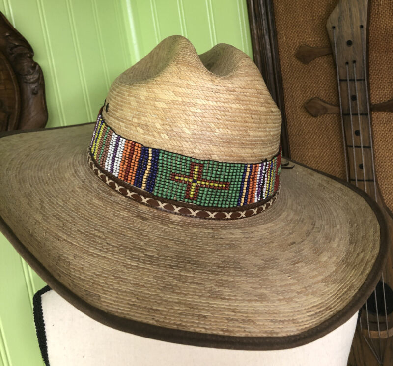 Estate Find, Handcrafted Hat Band With Cross Design And Seed Beads