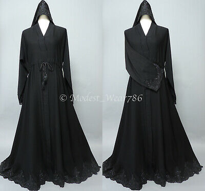 Dubai Abaya Kaftan Jilabiya Muslim Women Maxi Dress Flare Umbrella Black