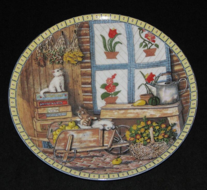 Hannah Hollister Ingmire - Apple Antics - Cozy Country Corners Plate 1991 Cats