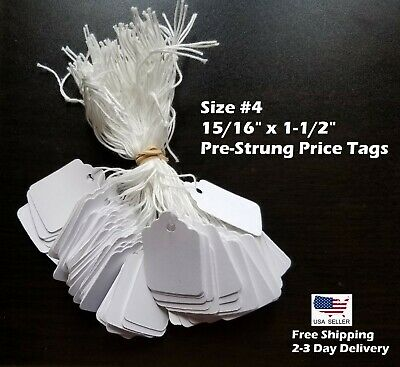 Size 4 Small Blank White Merchandise Price Tags W String Retail Jewelry Strung