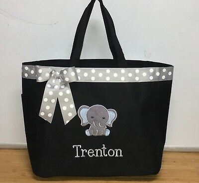 Personalized Baby Diaper Bag Tote Monogrammed Boy Elephant ()