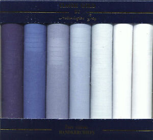 BOX OF 7 BLUE AND WHITE 100% PURE COTTON HANDKERCHIEFS HANKIES BOXED