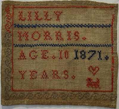 SMALL MID/LATE 19TH CENTURY ALPHABET SAMPLER BY LILLY MORRIS AGED 10 - 1871