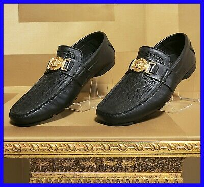 NEW VERSACE SIGNATURE QUILTED DRIVING SHOES IN BLACK LEATHER 39.5 - 6.5