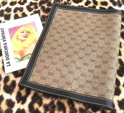 GUCCI 1960s BOOK NOTEPAD LEATHER COVER~SIGNATURE LOGO~SERIAL NUMBER~MINT VINTAGE