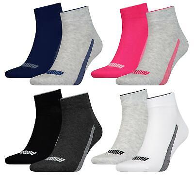 2 Pairs Puma Mens Womens Unisex Quarter Trainer Sports Socks UK 2.5-11