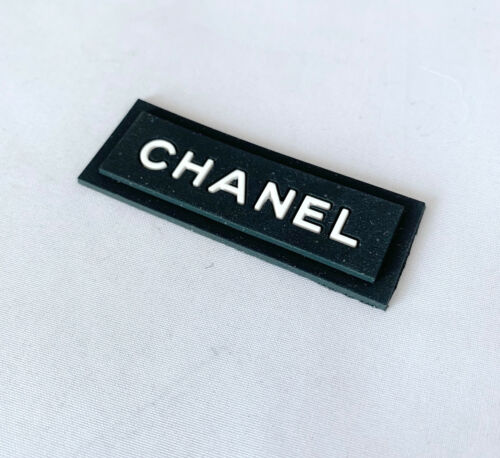 Chanel  Black Rubber Sewing Replacement Clothes Label
