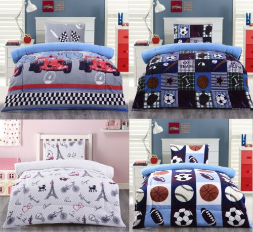 2 Piece Reversible Blanket Sherpa Flannel Kids Twin Size NEW Bedding