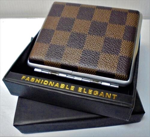 Eclipse Checker Pattern Leatherette Crushproof Cigarette Case, Kings, 3102ZS18