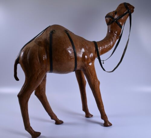 "Vintage Very Large leather wrapped Camel Statue Figure almost 20"" tall"