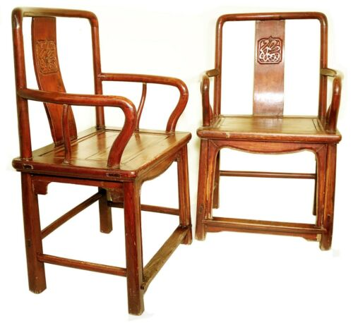 Antique Chinese Ming Arm Chairs (5900) (Pair), Cypress/Elm Wood, Circa 1800-1849