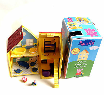 Popular Kids TV PEPPA PIG FOLD OUT TOY HOUSE w/ FIGURES & FURNITURE + BOX