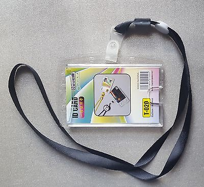 ID CARD HOLDER LANYARD BADGE CRYSTAL SECURITY  PHOTO IDENTITY PASS ACRYLIC 2WAY