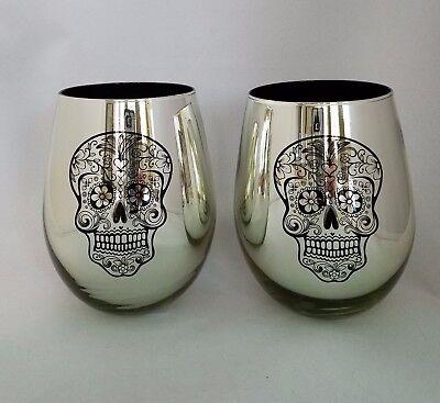 NEW Sugar Skull MIRROR Set(2) Stemless Wine Glasses Day of Dead BIG 20 oz GOBLET](Black Wine Glasses Bulk)