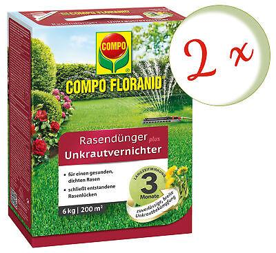 Savings Set: 2 X Compo Floranid Lawn Fertilizer Plus Weed Killer, 6 KG